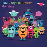 Cute And Stylish Hipster Monsters Illustration Stock Photography