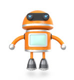 Cute android robot floating above ground.  Stock Image