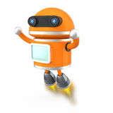 Cute android robot flying in the sky Stock Photos