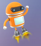 Cute android robot flying in the sky Stock Image