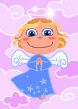 Cute Angel. A sweet little angel flying in a pink sky vector illustration