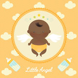 Cute Angel African Baby with Milk Bottle. Vector illustration of cute angel African baby with wings on dots and clouds in the background Stock Images