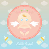 Cute Angel Baby with Milk Bottle Stock Photo