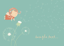 Cute angel blowing on a dandelion. Vector greeting card Stock Photography