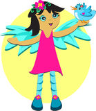 Cute Angel with Blue Bird Royalty Free Stock Image
