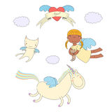 Cute angel, cat and unicorn illustration Stock Images