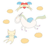Cute angel cat and unicorn illustration