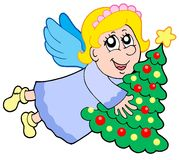 Cute angel with Christmas tree. Cute angel holding Christmas tree - vector illustration Royalty Free Stock Images
