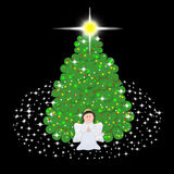 Cute Angel with Christmas tree Royalty Free Stock Photography