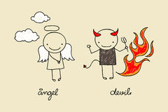Cute angel and devil doodle. Childish drawing of cute devil and angel with flames and clouds Royalty Free Stock Photography