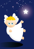 Cute angel  floating star Royalty Free Stock Photos