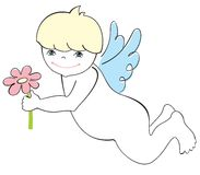 Cute angel with flower Stock Photography