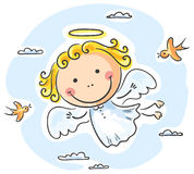 Cute angel. Flying with two birds vector illustration