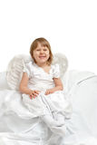 Cute angel girl. Over white Royalty Free Stock Image
