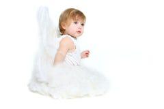 Cute angel girl. Over white Stock Photos