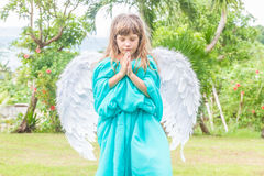 Cute angel girl on natural background Royalty Free Stock Photography