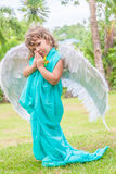 Cute angel girl on natural background Stock Images