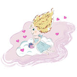 Cute angel girl on a pink cloud with little. Present vector illustration Stock Photo