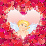 Cute angel in the heart shape frame edged of red p Stock Image