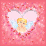 Cute angel in the heart shape frame edged of red paper Royalty Free Stock Images