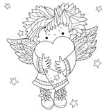 Cute angel heart Valentin doodle Royalty Free Stock Photography