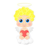 Cute angel with heart Royalty Free Stock Photography