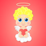 Cute angel with heart Stock Photos
