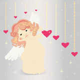 Cute angel and hearts. Stock Photography