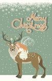 Cute angel hugs reindeer. Cute little angel hugs reindeer.Vector Christmas greeting card Stock Images