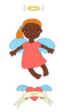 Cute angel illustration. Hand drawn vector illustration of a cute dark skinned angel girl with pony tail and halo, flying in the sky, winged heart and text Royalty Free Stock Photo