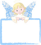 Cute Angel Invite & Place Card. Cute Angel with a place card or invite Stock Image