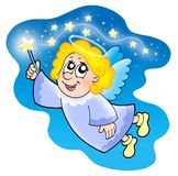 Cute angel with magical wand. Color illustration Royalty Free Stock Image