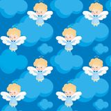 Cute angel pattern. Seamless pattern with the image of a pretty little angel. Vector background Royalty Free Stock Photo