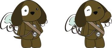 Cute angel puppy cupid cartoon set. Cute angel animal cupid cartoon set  in vector format very easy to edit Stock Photo