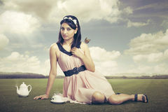 Cute angel. Relaxing in natural background Stock Photos