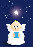 Cute angel  singing. Cartoon angel singing carol under star Stock Image