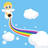 Cute angel in the sky with rainbow. Background with rainbow and clouds Stock Photos