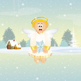 Cute Angel with snowflake Stock Photo