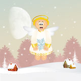 Cute Angel with snowflake Stock Image