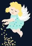 Cute angel with stars. Merry Christmas - Cute little angel with stars Stock Image