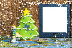 Cute Angel and tree, blank photo frame. Christmas photo frame cards, Cute Angel and tree and blank photo frame with Christmas greeting royalty free stock photos