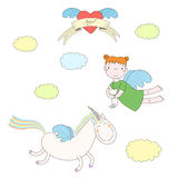 Cute angel and unicorn illustration. Hand drawn vector illustration of a cute angel girl, holding cat, and unicorn with wings, flying, with heart and text Angel Stock Image
