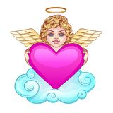 A cute angel with wings lies on a cloud. Angel holds a pink heart. A cute angel with wings lies on a cloud Stock Images