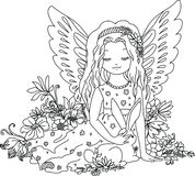 Cute Angel With Bunny. Coloring Book Illustration Royalty Free Stock Image