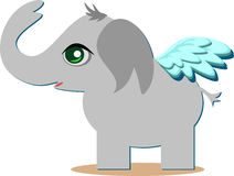 Cute Angelic Elelphant with Wings Stock Images
