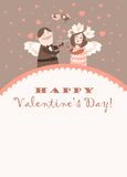 Cute angels celebrating Valentine's Day. Vector romantic greeting card Stock Image