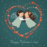 Cute angels embrace. Vector romantic greeting card Royalty Free Stock Photos