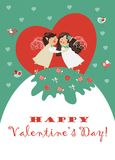 Cute angels embrace. Vector romantic greeting card Stock Image