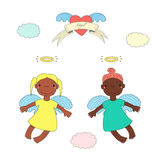 Cute angels illustration. Hand drawn vector illustration of two cute dark skinned angel girls with different hair, flying, winged heart and text on a ribbon Stock Images