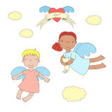 Cute angels illustration. Hand drawn vector illustration of two cute little angel girls, one holding  kitten, flying, winged heart and text Angel on a ribbon Royalty Free Stock Image